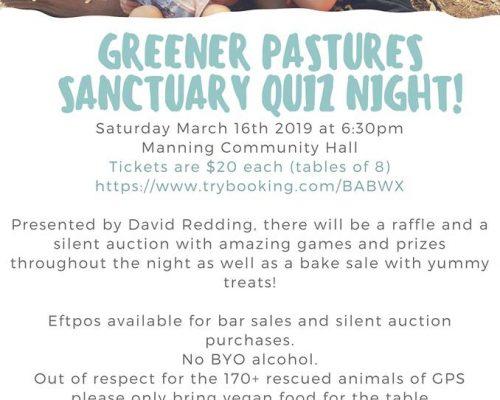 Greener Pastures Sanctuary Quiz Night – Manning, Australia